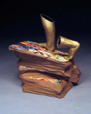 "Mid-range Earthenware, Mixed Media surface, Cone 1, Slab and coil built, 15""x11""18"", AVAILABLE"